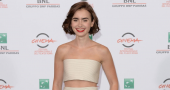Lily Collins is fantasy dream gorgeous in gold dress at Golden Globe gala